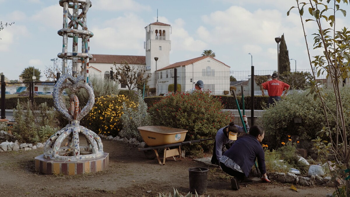 "The garden at Watts Towers Arts Center  | Still from ""Watts Towers Arts Center"" ab s11"