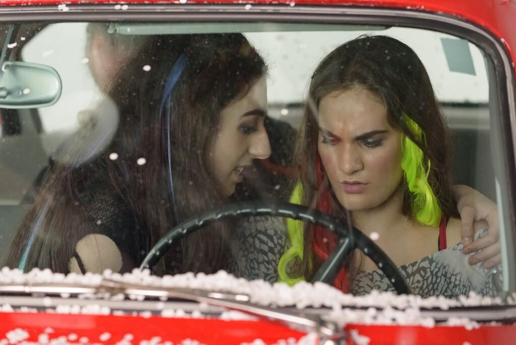 Soprano Emma MacKenzie and soprano Rowen Sabala filming Vireo car scenes   David Soderlund
