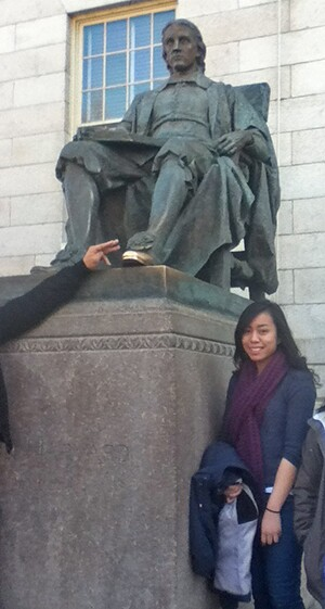 Marjeri with John Harvard and his golden foot