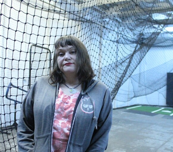 Exene by the Moonlight Graham batting cages.