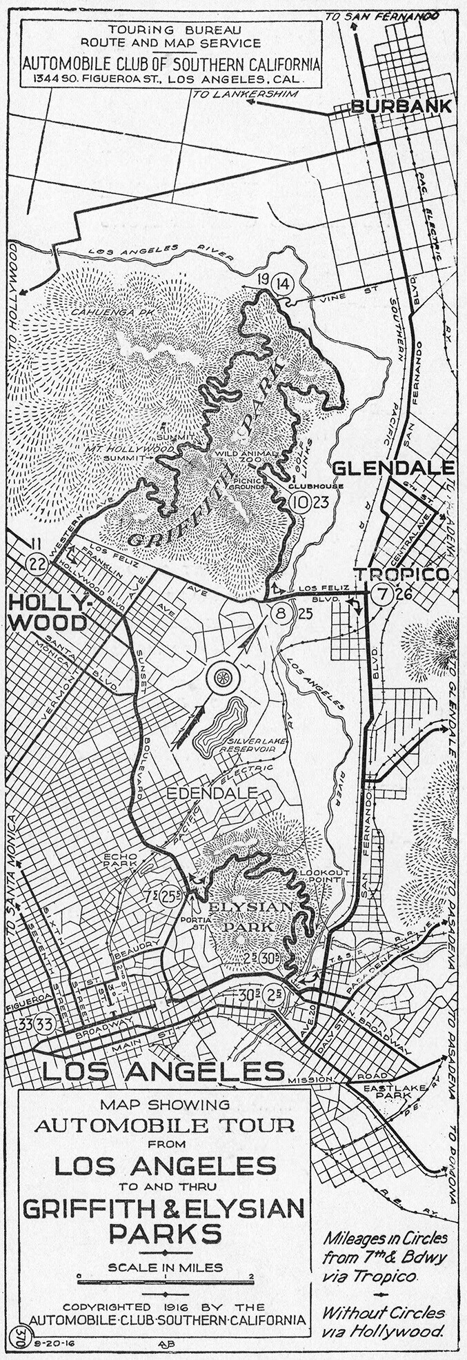 Auto tour map of Griffith Park, 1916 | Automobile Club of Southern California
