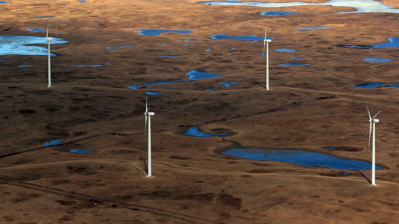 Turbines in prairie pothole country, prime bird habitat. Possibly not the best place for wind power. | Photo: USFWS