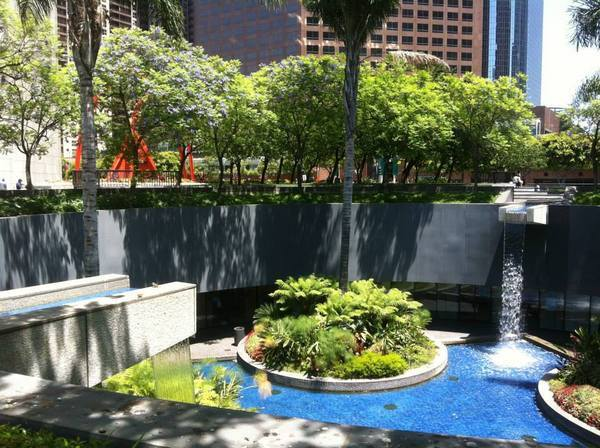The central water feature at Bank of America Plaza