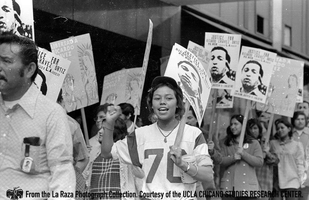 CSRC_LaRaza_B17F22S5_N004 March in support of Ricardo Chavez Ortiz in downtown Los Angeles | La Raza photograph collection. Courtesy of UCLA Chicano Studies Research Center