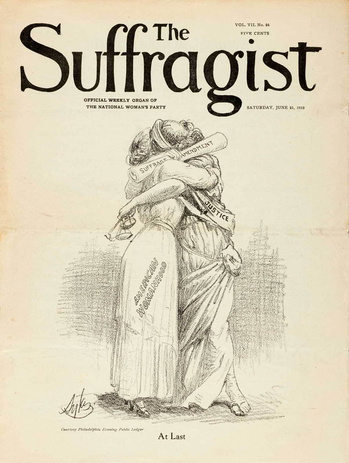 """""""At Last"""" illustration from The Suffragist dated June 21, 1919 published by the National Woman's Party, Washington, D.C.   The Huntington Library, Art Museum, and Botanical Gardens"""