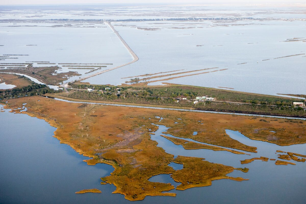 Aerial image of Isle de Jean Charles in Louisiana. (medium) | Nicky Milne/Thomson Reuters Foundation