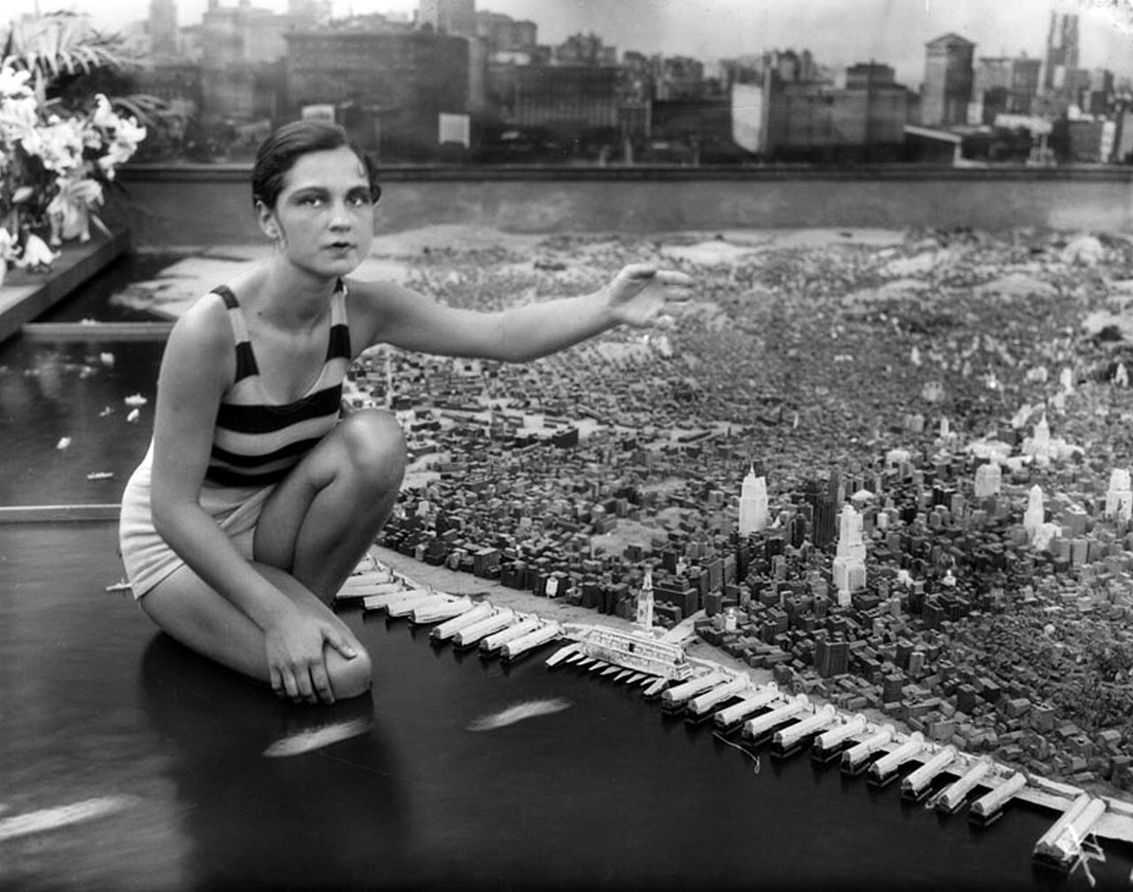 Model City. San Francisco brought a scale model of the city made from thousands of carved wood blocks. Photograph courtesy of Security Pacific National Bank Collection, Los Angeles Public Library