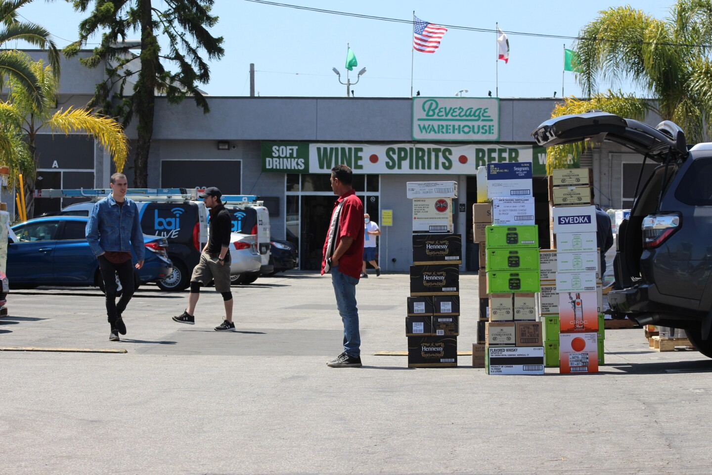 Parking lot of Beverage Warehouse, where shipments of alcohol have just come in   Karen Foshay