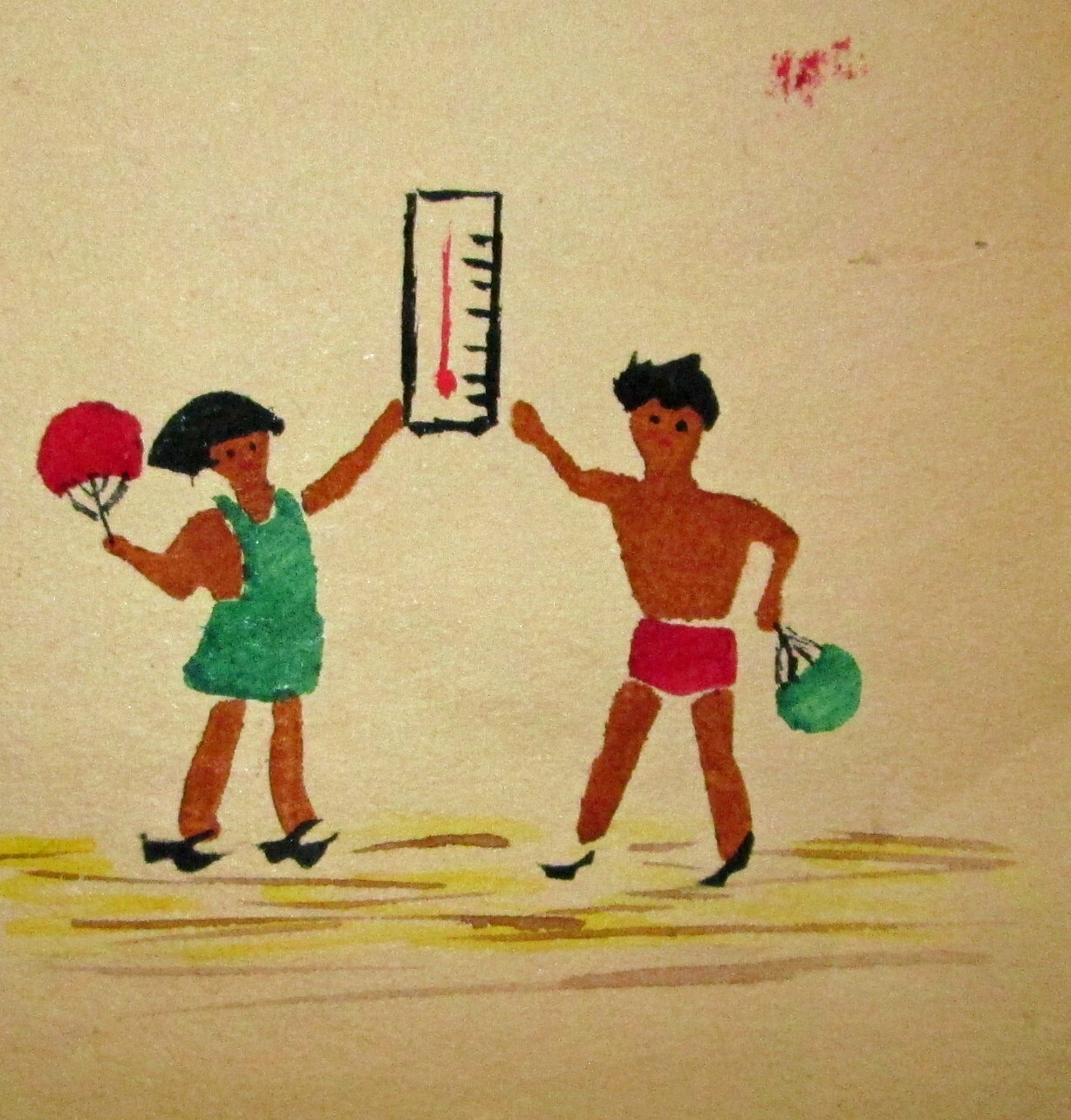 Two children depicted checking a thermometer in Poston | Courtesy of Bill Bell