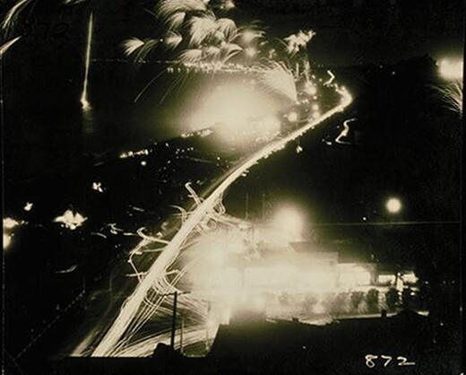 Fireworks along the Santa Monica coast, 1950s. Courtesy of the Carolyn Bartlett Farnham Collection, Santa Monica Public Library Image Archives
