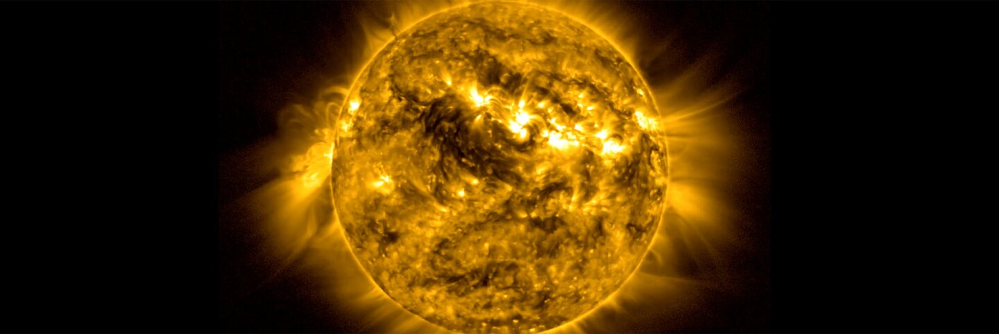 Sun, Coronal Rain, 2012 Still image from projected video, 8ft diameter Tom Bridgman (GST): Lead Animator Courtesy of NASA's Goddard Space Flight Center Scientific Visualization Studio, the SDO Science Team, and the Virtual Solar Observatory