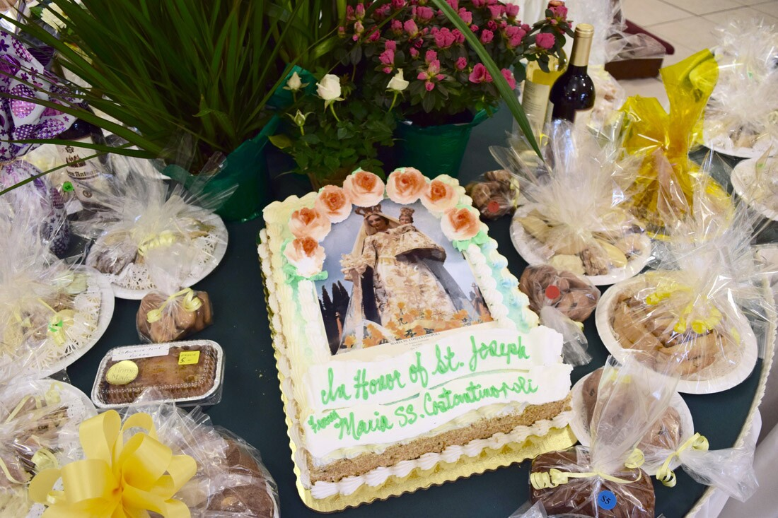 One of the cakes sponsored by one of the church's religious societies, St. Joseph's Table