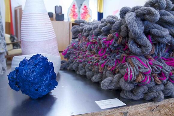 Sculpture by Elyse Graham, rug by Joanna Williams, Doug Johnston basket.