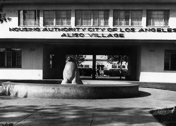 Exterior view of the entrance to Aliso Village | Courtesy of the Los Angeles Public Library