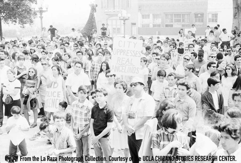 CSRC_LaRaza_B1F4C8_Staff_005 Rally to free the LA 13 at La Placita | La Raza photograph collection. Courtesy of UCLA Chicano Studies Research Center