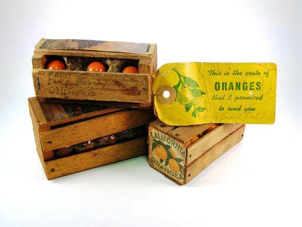 A miniature orange crate souvenir from of the David Boulé Collection.
