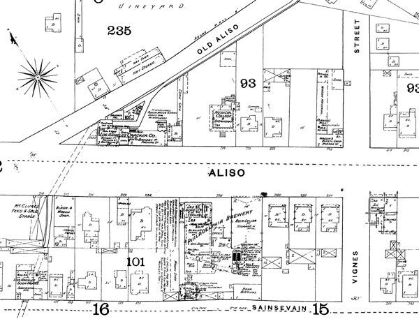 Detail of a map from the 1888 Sanborn Fire Insurance Atlas, showing the Philadelphia Brewery where El Aliso stood. Courtesy of the Map Collection, Los Angeles Public Library.