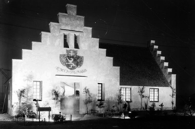 Czechoslovakia Building. It housed a collection of industrial products and traditional handicrafts. Photograph courtesy of Security Pacific National Bank Collection, Los Angeles Public Library