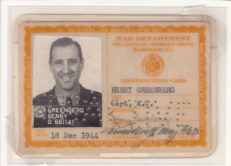 Hank Greenberg military ID