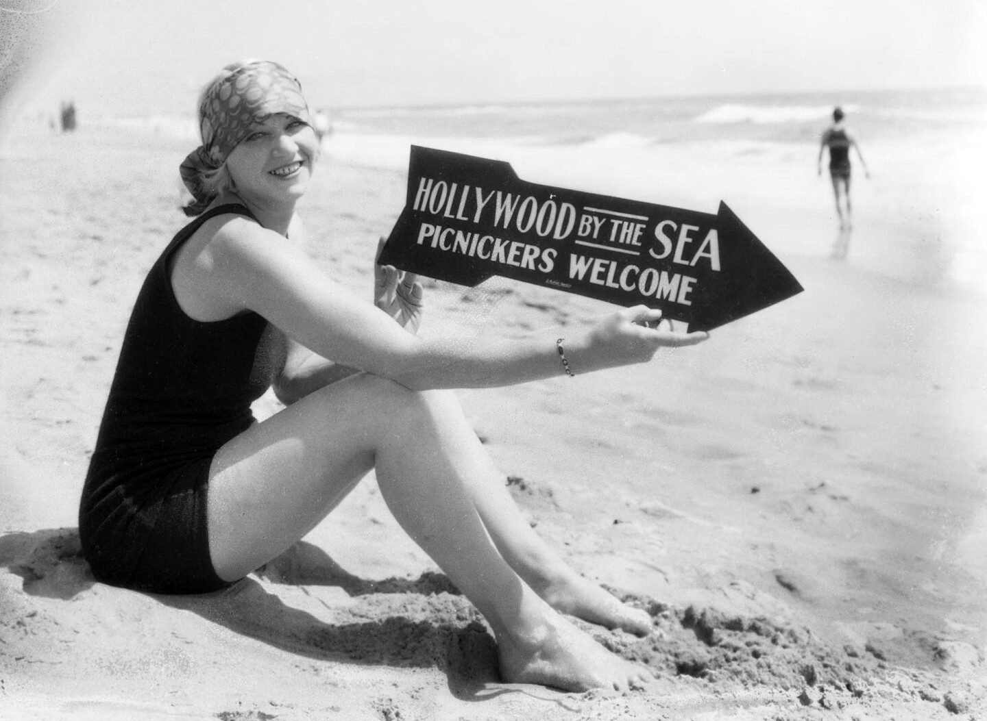 Picnickers and campers were welcome on Hollywood-by-the-Sea's beach. 1927 photo courtesy of the USC Libraries - Dick Whittington Photography Collection.