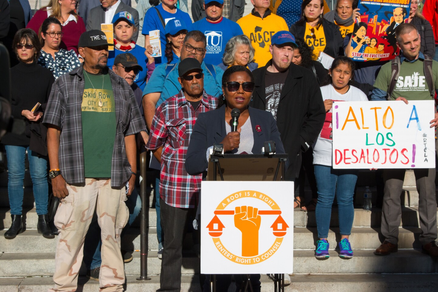 Members of the LA Renters' Right to Counsel Coalition gather for a rally.