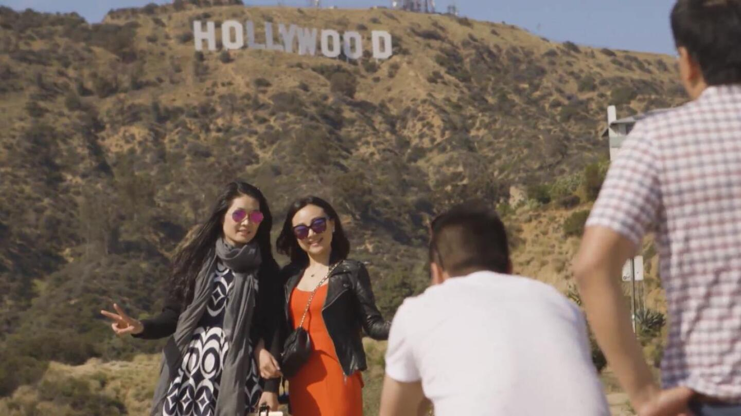 Tourists at the Hollywood Sign