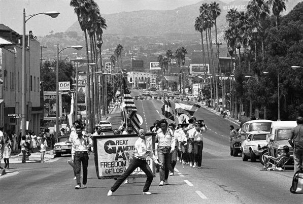Parade during the first Sunset Junction Street Festival.  Courtesy of the Los Angeles Times Photo Archive, UCLA Library.