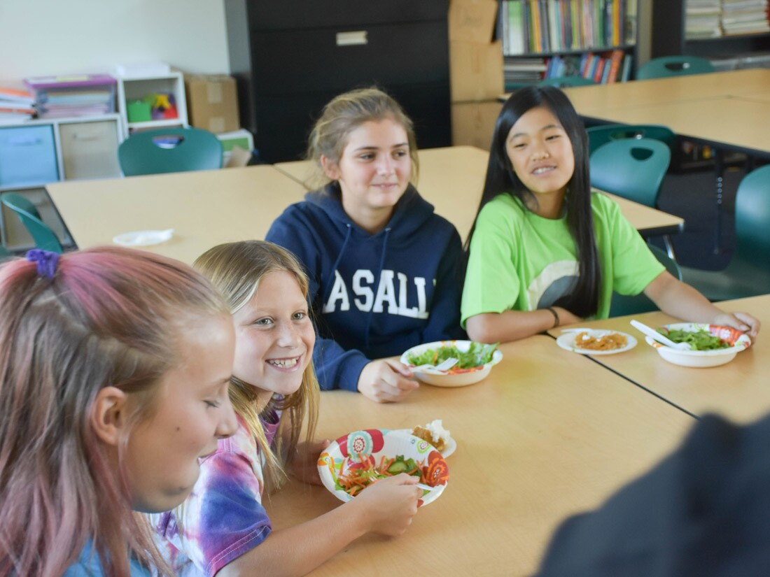 Tower Garden: Sierra Madre Middle School students enjoying their hard-earned salads.