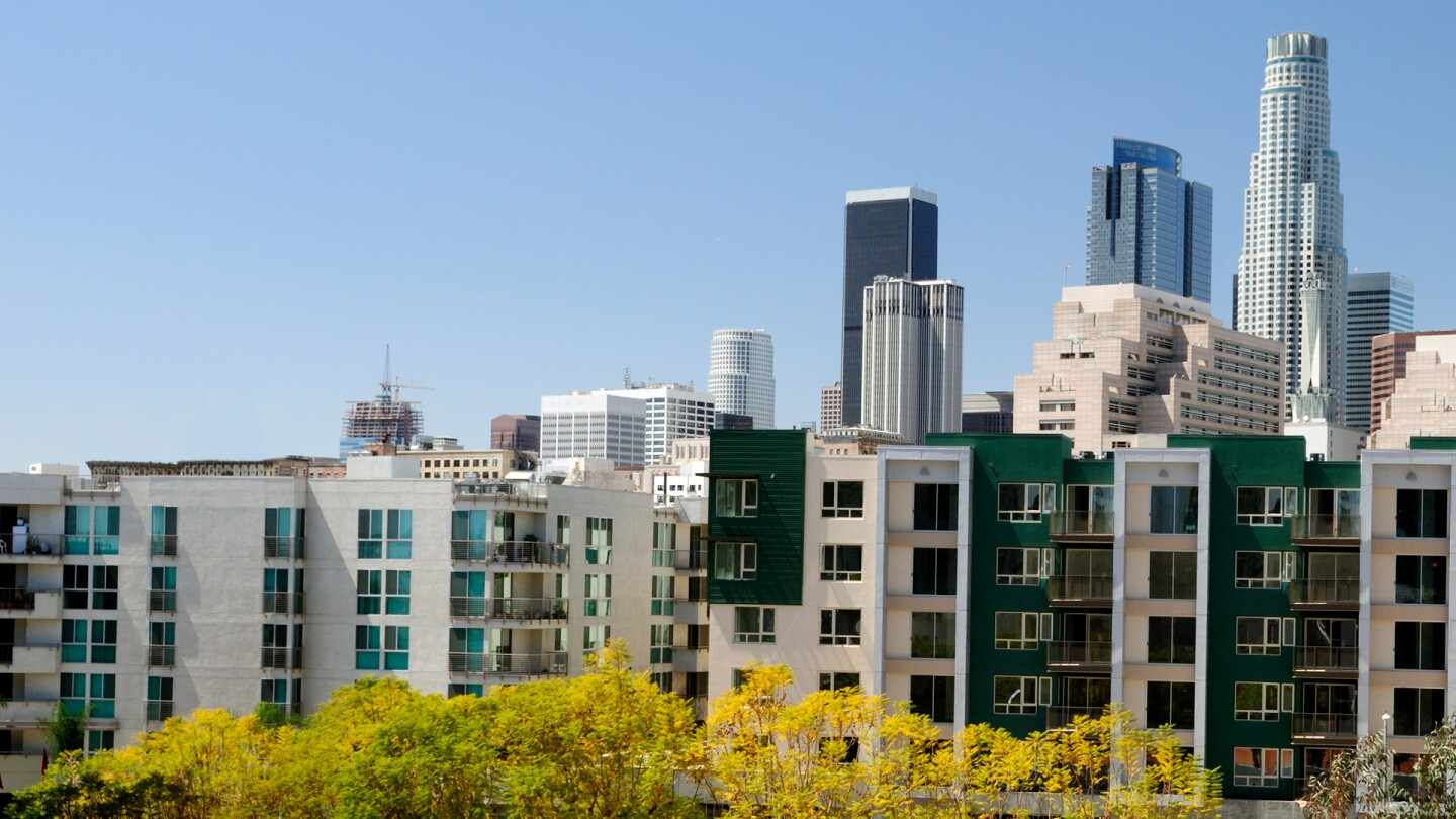 Apartment Building with Downtown Los Angeles in Background