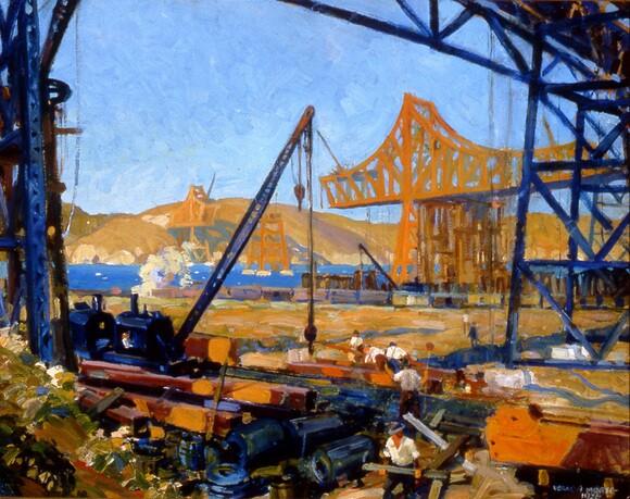 "Morse, Vernon Jay, ""The Bridge Builders,"" 1926, 22x28"