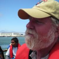 Joe Eaton on the traditional Pacific Islands voyaging canoe Uto Ni Yalo. | Veronica Sullivan