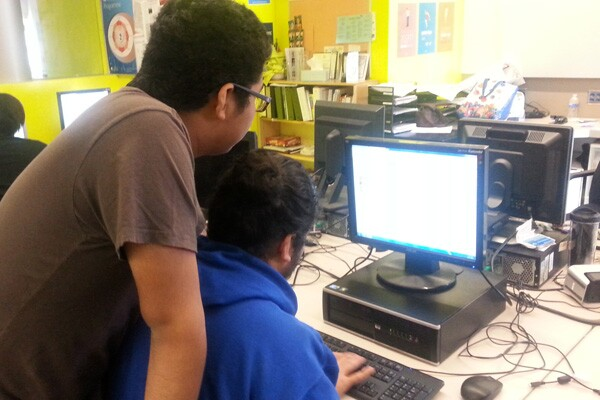 Paired programming in action - two juniors working on Code Avengers