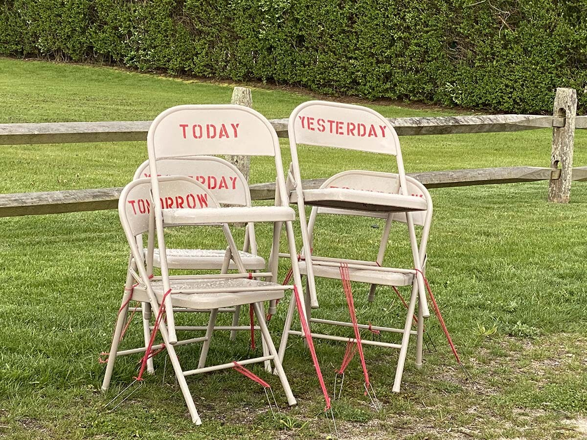"""""""When,"""" powder coated metal folding chairs, enamel paint, 2020 by Toni Ross and Sara Salaway 