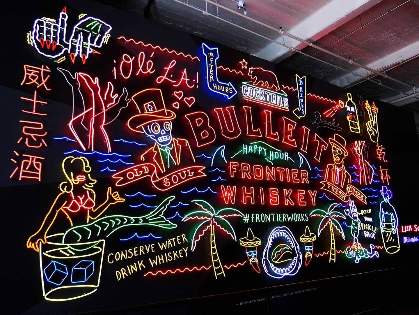 Bulleit Frontier Works neon sign by Schulte and Donnelly at Grand Central Market | Sandi Hemmerlein