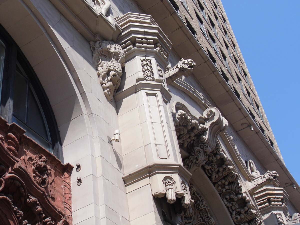 Million Dollar Theatre exterior featuring  figures of gargoyles. | Sandi Hemmerlein