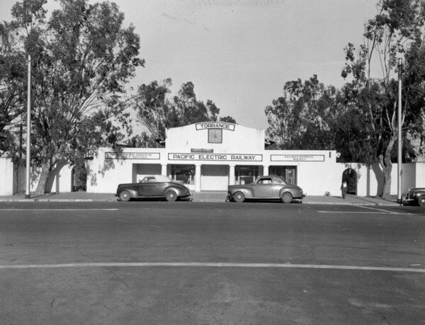 Pacific Electric Depot in Old Torrance, ca.1937   Photo: Los Angeles Public Library