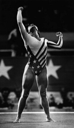 Gymnastics sensation Mary Lou Retton earned a perfect 10 score after this vault at the 1984 Los Angeles Olympics. Photo by Anne Knudsen, photo from the Herald-Examiner Collection. Photo courtesy Los Angeles Public Library