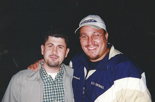 Erick Escamilla (right), South El Monte teacher remembers Bobby Salcedo (left) as a great friend and colleague   Photo courtesy of Erick Escamilla