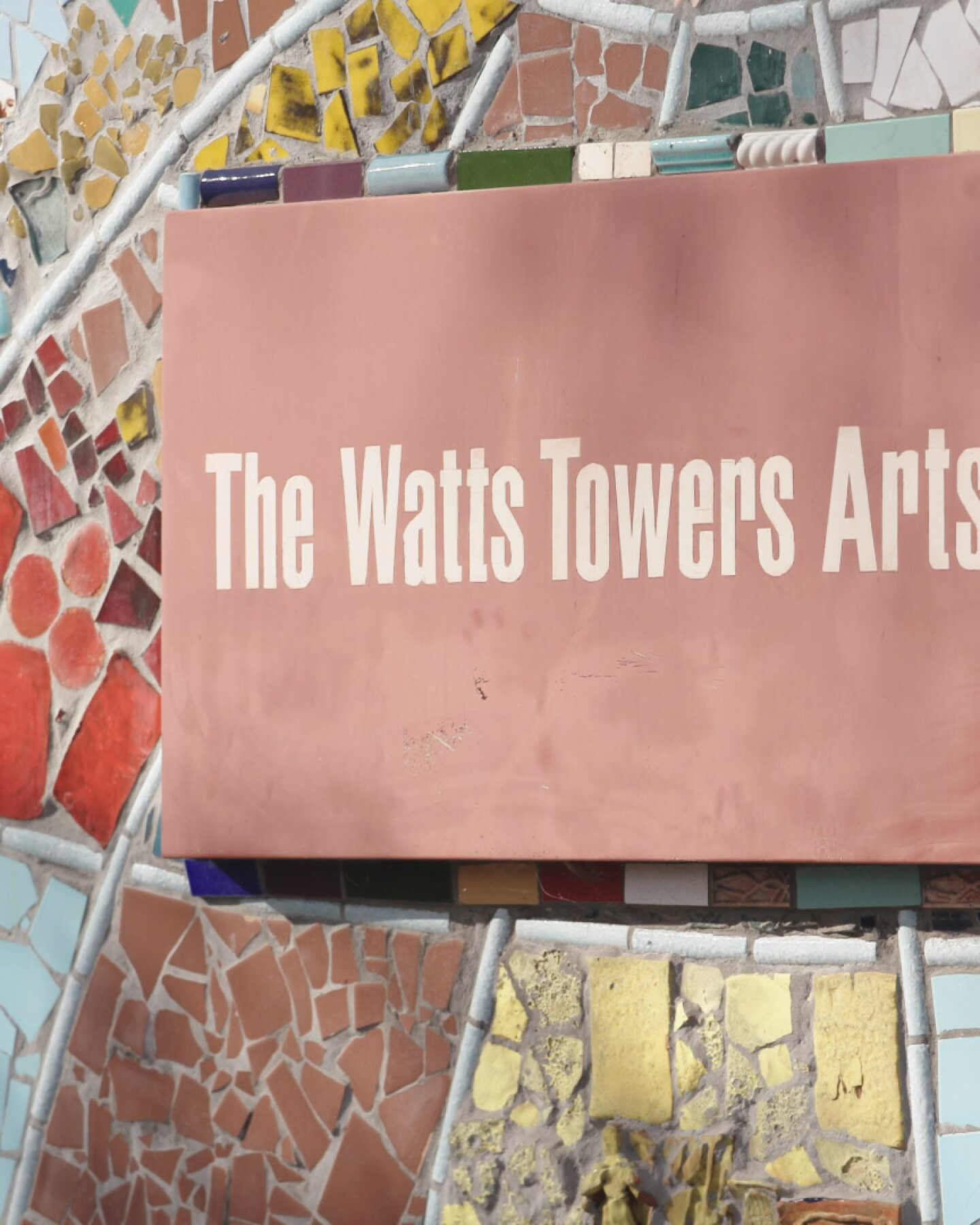 "The sign outside the Watts Towers Art Center | Still from ""The Watts Towers Arts Center"" ab s11 episode image"