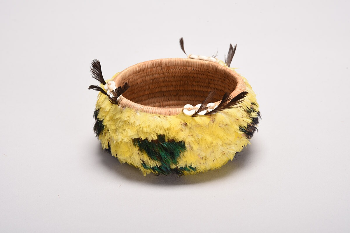 Feather basket by Mabel McKay (Cache Creek Pomo) | Collection of Marshall McKay and Sharon Rogers McKay
