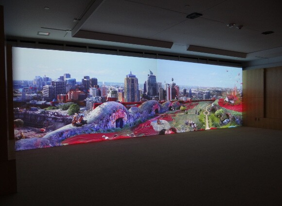 "Ulu Braun, ""The Park,"" 2013. 2-channel HD video, 30-foot screen, surround sound."