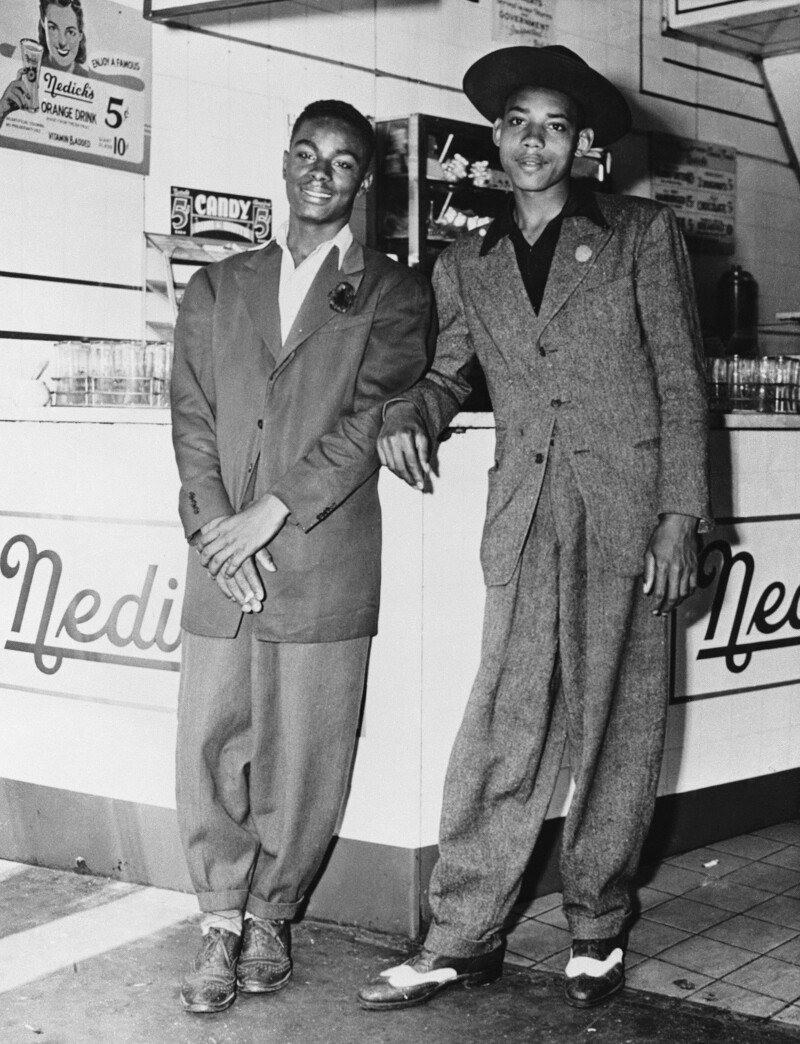 African American teens in zoot suits.