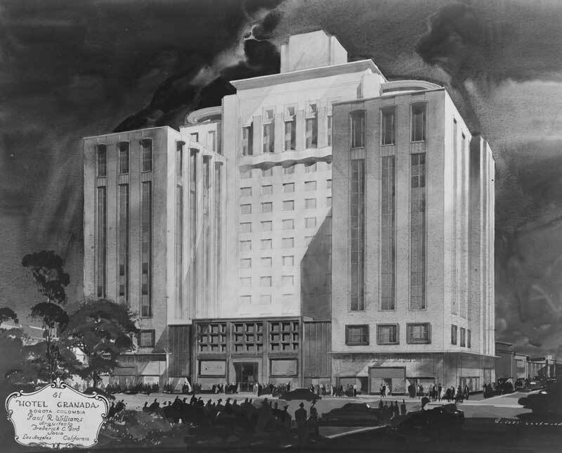 Hotel Granada, Bogota, Colombia, architectural drawing | Maynard L. Parker, 1940 The Huntington Library, San Marino, California Rendering: Robert Lockwood