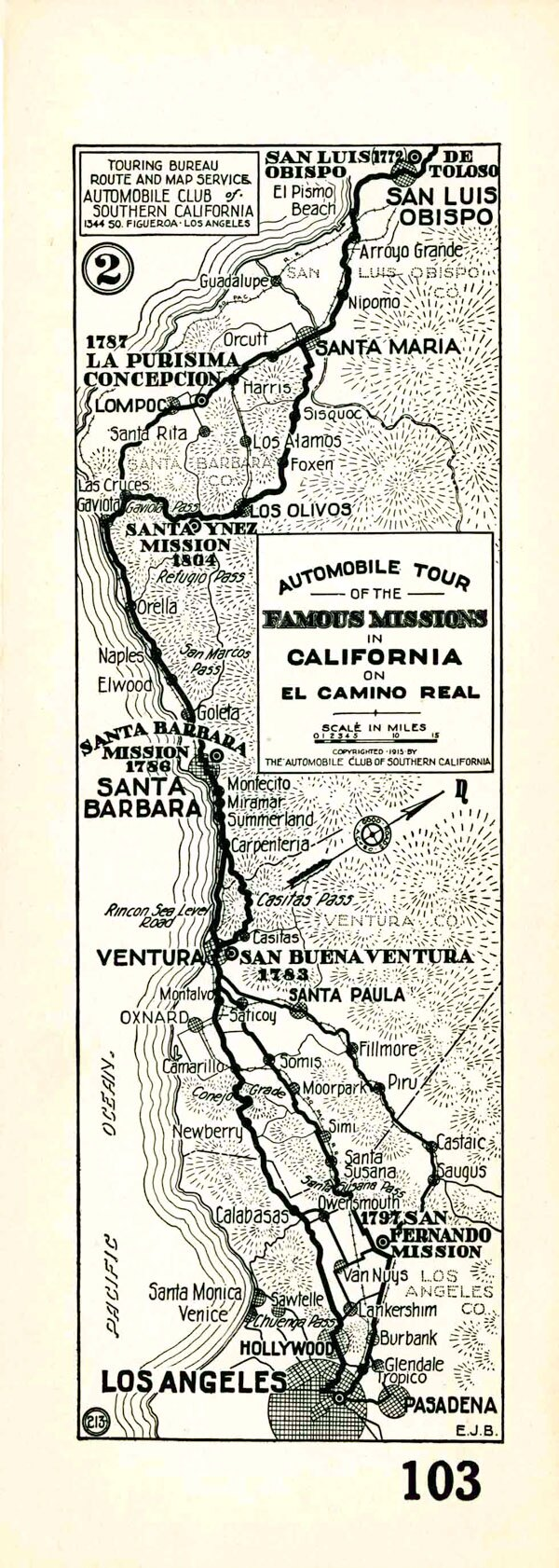 1915 Auto Club strip map showing the route of El Camino Real from the central coast to Los Angeles. Courtesy of the Automobile Club of Southern California Archives.