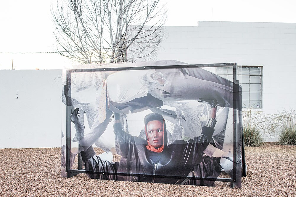 """""""Grace Jones Billboard"""" (2018) by Jibade-Khalil Huffman. Transparency on plexi with wood frame support. 