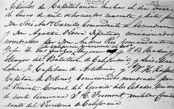 Beginning of the articles of capitulation signed by Frémont and Pico at Cahunega Pass on January 13, 1847. Courtesy of the Title Insurance and Trust / C.C. Pierce Photography Collection, USC Libraries.