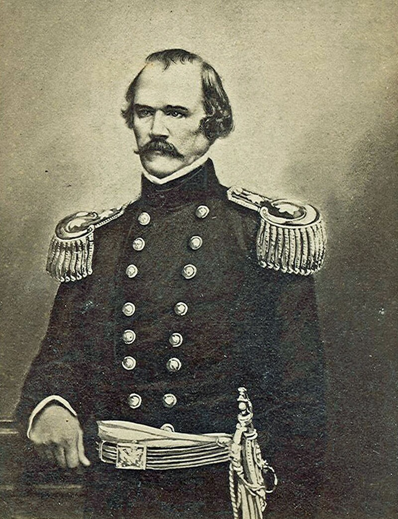 "Albert Sidney Johnston. Former commander of the US Army in California, Johnston left Los Angeles with the Mounted Rifles in mid-1861. He had ""gone to Dixie"" to join the Confederate army. Photograph courtesy of Wikimedia"