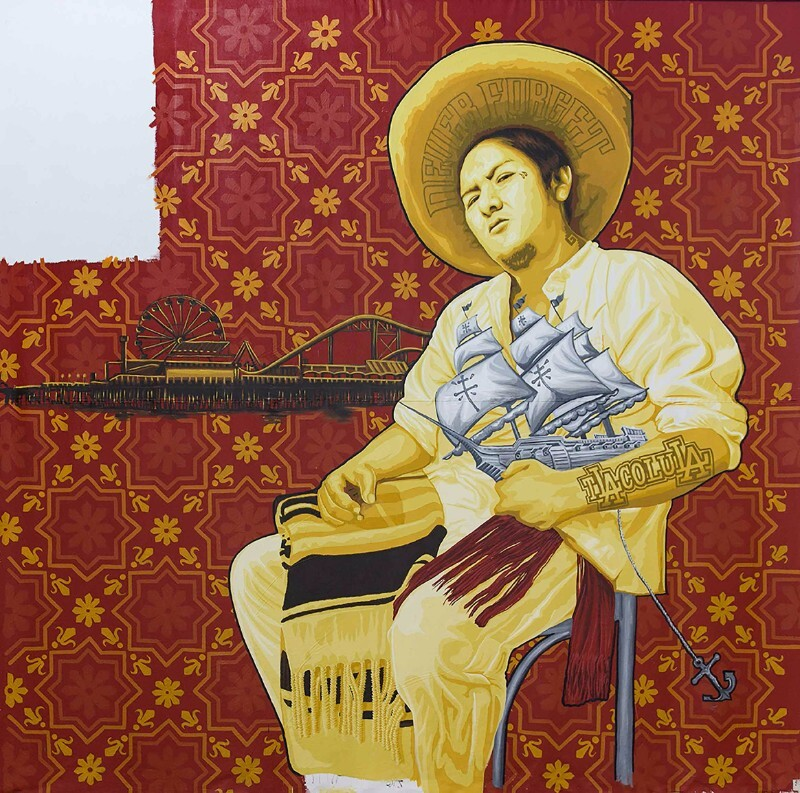 "One panel of artist collective Tlacolulokos's ""Visualizing Language: Oaxaca in L.A."" |  Fausto Nahum PST LA/LA"