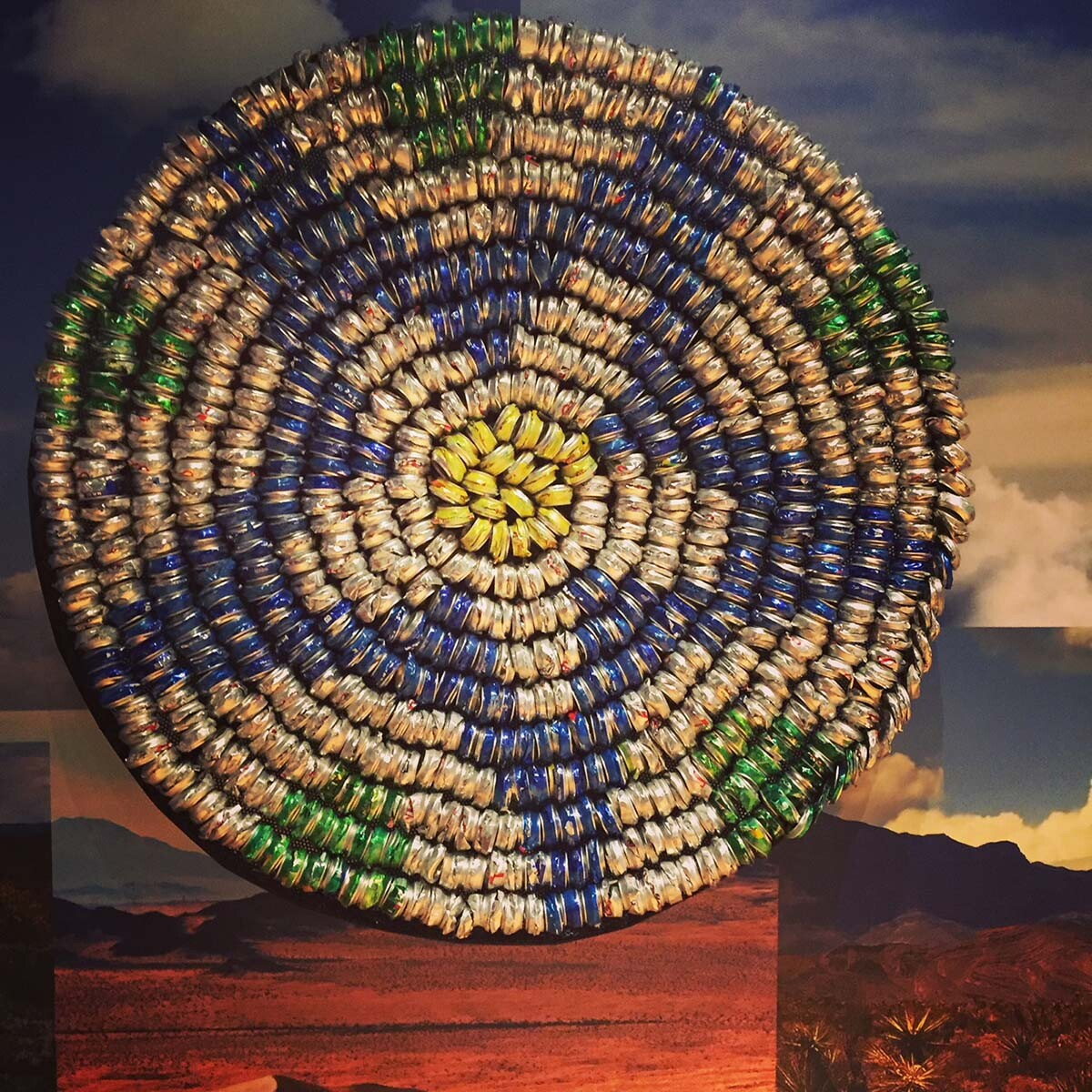 """Continuum Basket: Flora"" by Gerald Clarke (Cahuilla) on display in ""Human Nature"" exhibit at the Autry Museum of the American West 