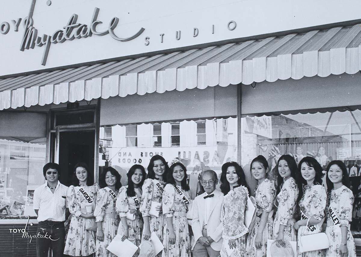 The 1975 Nisei Week Queen and her court with Toyo Miyatake | Courtesy of Toyo Miyatake Studio